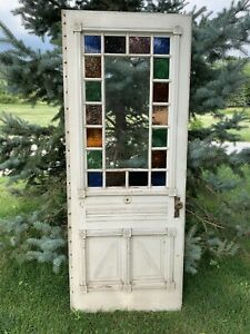 Antique Vintage Victorian Wood Door W Stained Glass Key
