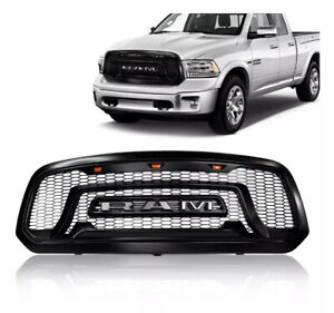 Grille Fit For Dodge Ram 1500 13 18 Abs Front Bumper Grill Rebel Style With Led
