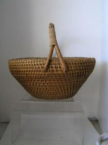 Vintage Gathering Basket Folk Art Primitive Braided Handle 14 X 12