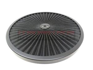 14 Round Black Flow Thru Washable Air Cleaner Lid Top Only Street Hot Rat Rod