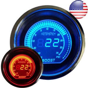 52mm Digital Evo Gauge Boost Vacuum Turbo Meter Blue Red Smoke Led Psi Us 2019