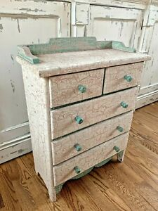 Antique Vintage Wooden 5 Drawers Stand Small Cabinet Chest