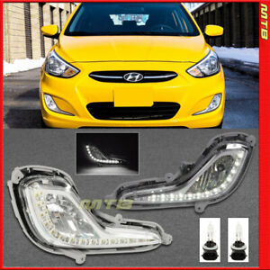 Fog Lights Led Drl For Hyundai Accent 2012 2017 Hatchback Sedan Left Right Clear