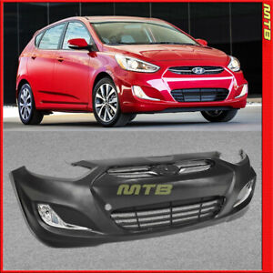 Front Bumper Cover W Grille Fog Lights For Hyundai Accent 12 17 Sedan Hatchback