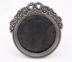 Floral Antique Vtg Style 3 Photo Metal Round Picture Frame Easel Pewter Tone