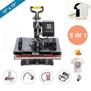 5 In 1 12 X 15 T Shirt Heat Press Machine For Mug Hat Plate Cap Mouse Pad