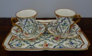 Antique Sevres Marked Hand Painted Tea Cups Saucers Tray Set