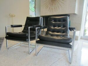 Milo Baughman Style Mid Century Modern Pair Of Chairs 60 S Good Condition