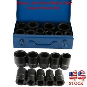 10pcs 1 Inch Drive Metric Deep Impact Socket Set Long Reach Impact Sockets Us