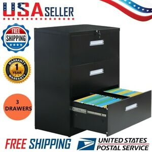 3 Drawer Lateral Filing Cabinet Storage Organizer Anti tilt Structure Heavy Duty