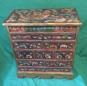Old Vintage Table Top Jewellery Drawers Chest Cabinet Box Embossed Leather 12in