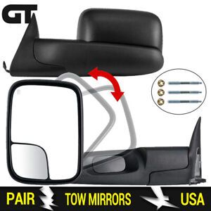 For 1998 2001 Dodge Ram 1500 1998 2002 2500 3500 Manual Flip Up Tow Mirrors Pair