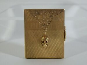 Antique Mourning Gold Plated Silver Miniature Pocket Frame Memento Mori Skull