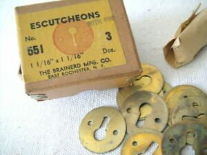 Brainerd Mfg Co Box Of Vintage Escutcheons Brass Key Hole Plate With Pins 3 D