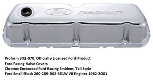 Proform 302 070 Ford Racing Valve Covers Chrome Small Block Ford Engines