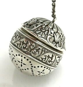 Gorham Sterling Ornate Tea Ball 185 Dated 1894