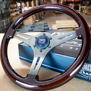 14 Dark Wood Steering Wheel With Black Chrome 3 Spokes 6 Hole Chevy Gmc