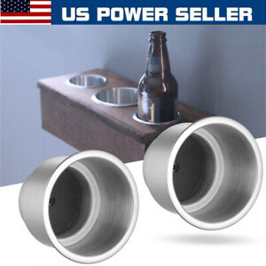 2x Stainless Steel Cup Drink Holder For Marine Boat Yacht Truck Rv Car Camper