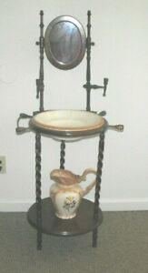 Vintage Wood Wash Stand Basin Pitcher Bowl Mirror Towel Bar Twisted Legs
