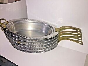 Lot Of 6 Bon Chef Buffet Oval Presentation Dish Pan 19 Stainless Steel Brass