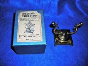 Ornanmental Vintage Brass Pocket Watch Stand With Original Box See Pictures