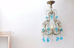 Antique Vintage Petite Crystal Macaroni Beaded Chandelier Murano Blue Aqua Drops