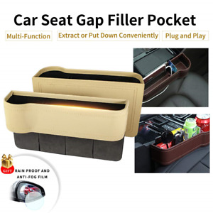 Console Side Pocket Pu Leather Car Seat Gap Filler Organizer Catcher With Cup 2