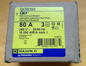 Square D Qob380 Bolt on Circuit Breaker 80a 3 pole New In Box 3phase 240 Volts