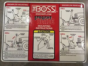 Boss Snow Plow Rt3 Straight Blade Replacement Decal For Mounting Instructions