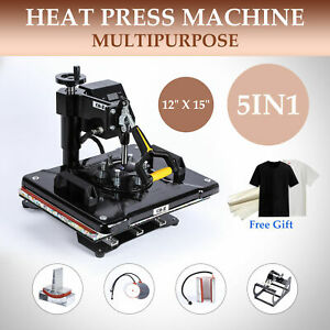 T Shirt Heat Press Machine For Mug Hat Plate Cap Mouse Pad 5 In 1 12 X 15