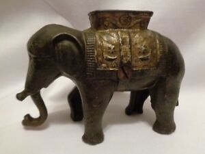 Old Ac Williams Cast Iron Elephant With Howdah Coin Still Bank Original Sm
