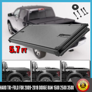 Hard Tri folding Tonneau Cover For 2009 2018 Dodge Ram 1500 Crew Cab 5 7ft Bed