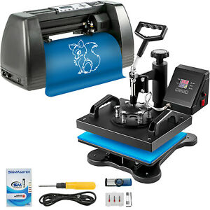 Heat Press 12 x10 Vinyl Cutter Plotter 14 Cap Plate Sublimation Signmaster