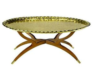 Vintage Brass Tray Table On Folding Stand