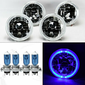 Four 5 75 5 3 4 Round Clear Glass Blue Halo Headlights W Bulbs Set Chevy