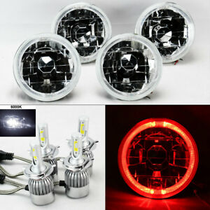 Four 5 75 5 3 4 Round Clear Glass Red Halo Headlights W 36w Led H4 Bulbs Chev