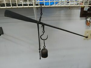 Antique Hand Forged Wrought Iron Hanging Balance Scale