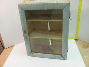 Vintage Retro Medicine Barber Wood Glass Display Case Cabinet Great Patina