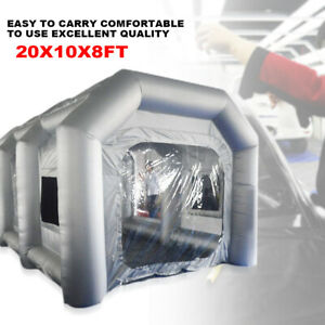 20x10x8ft Inflatable Spray Booth Car Paint Tent Filtration System Silver Top