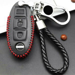 Leather Remote Car Key Bag Case Cover Holder Protection W Keychain Auto Parts