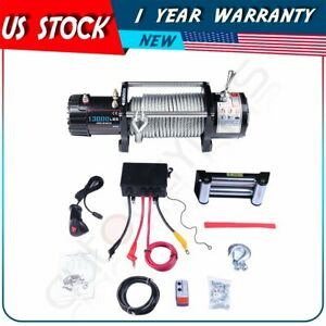 13000lbs Electric Recovery Winch Steel Cable Remote Control For Toyota Truck 12v
