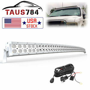 Curved 50inch White Led Light Bar Flood Spot Work Offroad Fit Truck 52