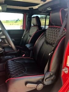 2013 2018 Jeep Wrangler Jk 4dr Black With Red Pipping Red Stiching Syn Leather C