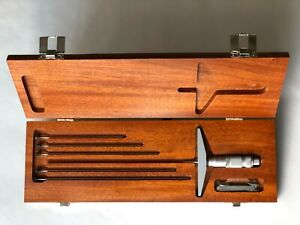 Brown Sharpe 0 6 Depth Micrometer Set In Wooden Box New Open Box