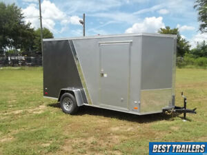 2019 Enclosed 6 X 12 2 Tone Grey And Silver Cargo Trailer Led Extra Height