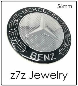 Mercedes Benz Steering Wheel Car Hood Emblem Black 56mm Logo Sticker Z7qq
