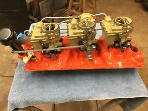 1960 Chevrolet 348 True Tripower Intake And Carbs C 24 60