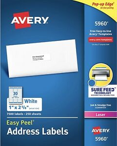 1 New Box Of 7500 Avery 5160 6240 5960 8160 Address Shipping Labels 1 X 2 5 8