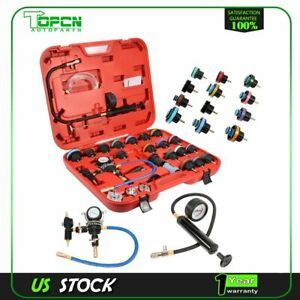 Radiator Pressure Tester Vacuum Purge Cooling System Refill W adapter 28 Pcs set