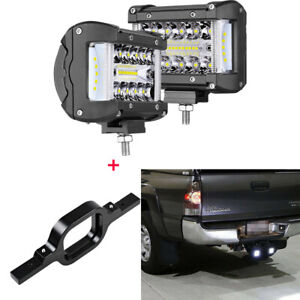 Tow Hitch Mounting Bracket 2x4inch 300w Led Work Lights Pods Fog Driving Light